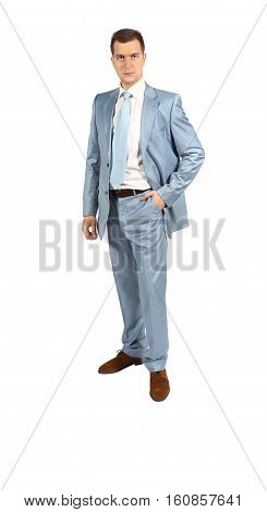 Full length portrait of handsome businessman in suit isolated on white background