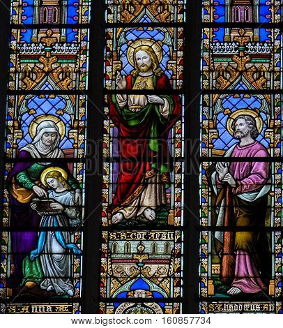 Stained Glass - Saint Anna, Jesus And The Sacret Heart And The Apostle Thaddaeus