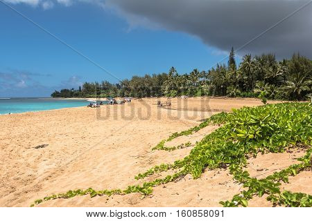 Sand beach at Haena Park in Kauai, Hawaii