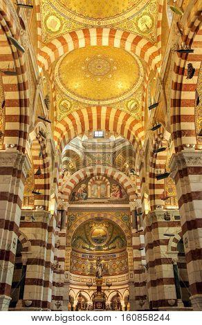 golden ceiling in Notre Dame de la Garde church