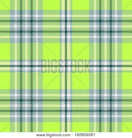 Seamless plaid pattern in bright green and white