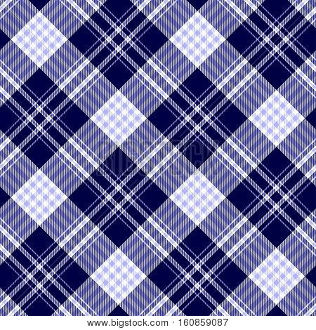 Seamless plaid pattern in pale blue, dark navy blue and white.