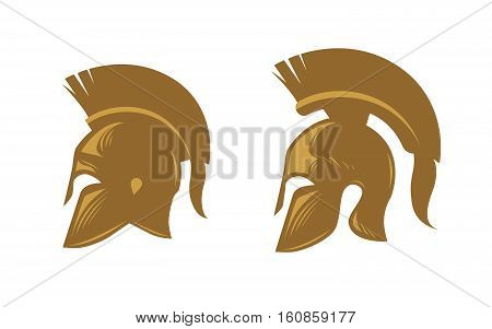 Ancient spartan helmet with feathered crest. Vector icons or symbols isolated on white background