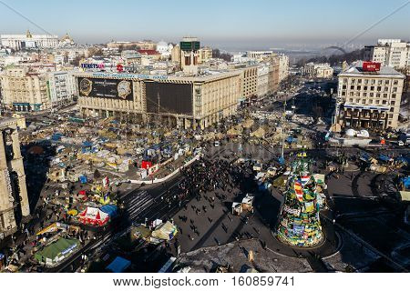 Kiev, Ukraine - February, 2014 - top view of the Independence Square with tents, barricades during the Maidan in Kiev, Ukraine at winter day.