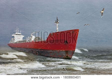 Oil tanker in a winter storm day during a violent blizzard.