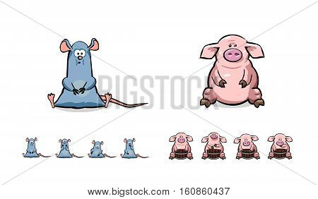 Happy cartoon pig and mouse set. Can use like mascot for print, posters, t-shirts, textiles or oter kids stuff. Cartoon animal character vector illustration