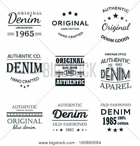 Classical denim jeans typography logo emblems limited edition graphic design icons collection abstract isolated vector. Clothing print graphic label typography denim logo. Authentic classic denim.
