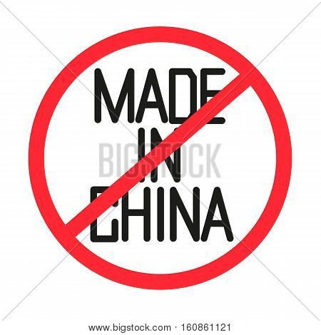 Illustration of a forbidden made in china text. Vector stock