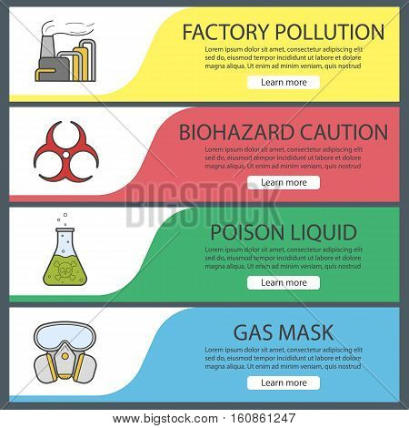 Chemical industry banner templates set. Easy to edit. Factory air pollution, poison liquid, biohazard symbol, gas mask. Website menu items. Color web banner. Vector headers design concepts