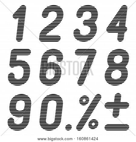 The numbers of bands on a black background. Vector illustration.