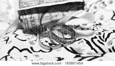 Wedding rings and money, love and happy