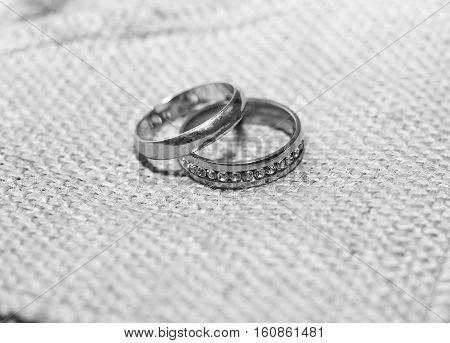 Wedding golden rings, happy and love, diamonds
