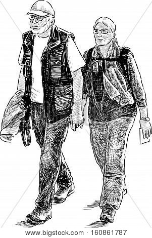 Sketch of the elderly tourists couple on a stroll.