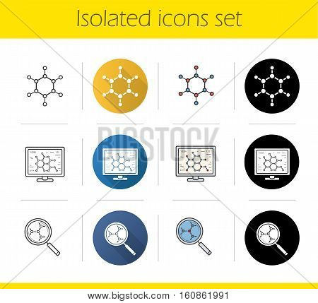 Science lab icons set. Flat design, linear, black and color styles. Molecule, laboratory computer, molecular structure analysis. Scientific project. Isolated vector illustrations