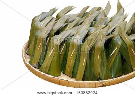 Thai dessert. Khanom Sod-Sai (Steamed Flour with Coconut Filling) isolated on white with clipping path