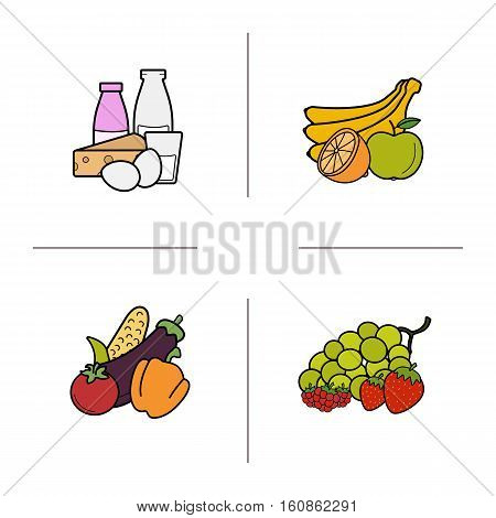 Grocery store products categories color icons set. Fruit, vegetables, berries, dairy products. Isolated vector illustrations
