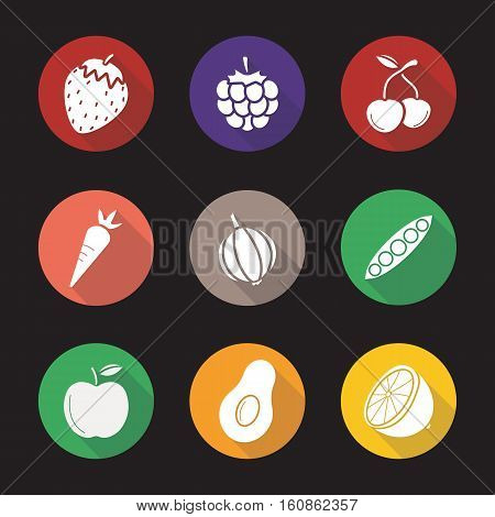 Fruit, berries and vegetables flat design long shadow icons set. Strawberry, raspberry, cherries, carrot, garlic, open pea pod, apple, avocado, lemon. Vector symbols