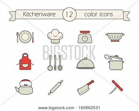 Kitchen tools color icons set. Colander, kettle, cleaver, corkscrew, rolling pin, covered dish, steaming stewpot, apron, food scales, chef's hat, plate. Kitchenware. Isolated vector illustrations
