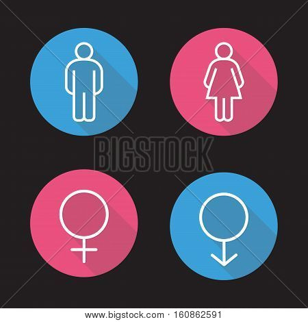 Gender symbols. Flat linear long shadow icons set. Man and woman WC toilet door signs. Vector line symbols