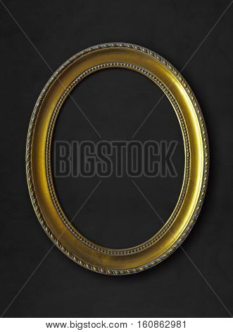 golden oval vintage frame isolated on black background with clipping paths