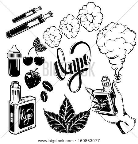 Black and isolated vape icon set with different flavors of vape and tools vector illustration