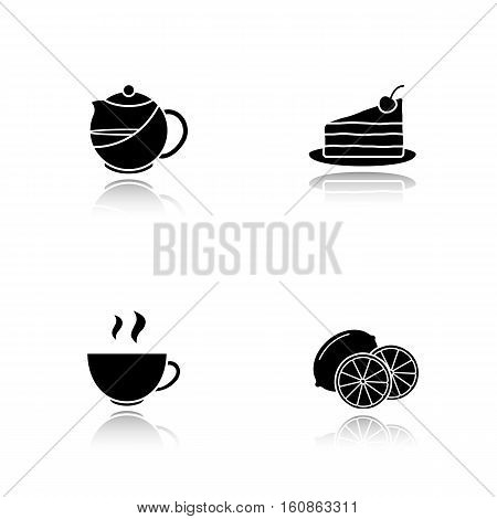 Tea drop shadow black icons set. Teapot infuser, chocolate cake with cherry on plate, lemon slices, steaming cup. Isolated vector illustrations