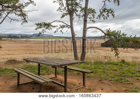 Picnic table on Tamar Island offering a scenic view over the Tamar Island Wetlands and Tamar river