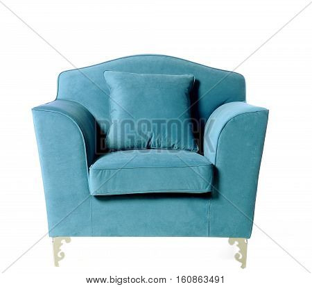 upholstered armchair, comfortable furniture, trendy colors, isolated on white background