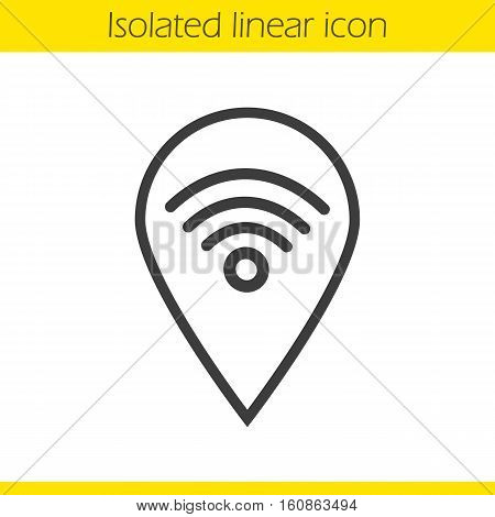 Wifi hotspot linear icon. Thin line illustration. Contour symbol. Pinpoint with wi fi network signal inside. Vector isolated outline drawing