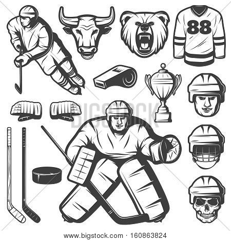 Set of isolated monochrome vintage hockey league emblem elements with player characters ammo mascots and cup vector illustration