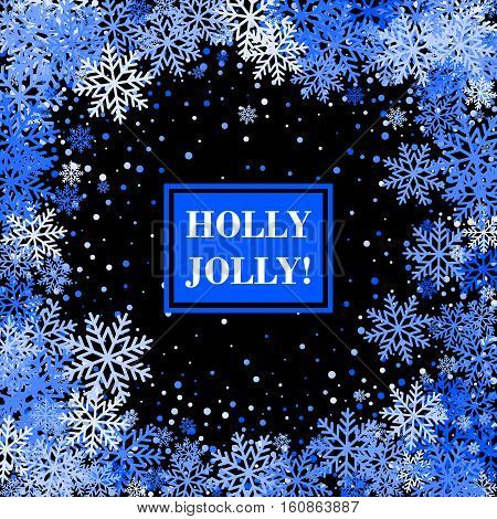 Snowflakes Banner for Christmas and New Year Design. Holly Jolly card. Vector Illustration.