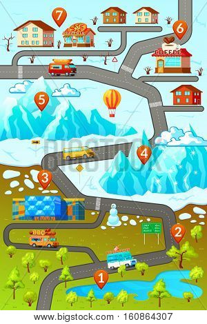 Inforgaphic poster with decorative map of mountainous town area with car roads buildings numbered location pins vector illustration