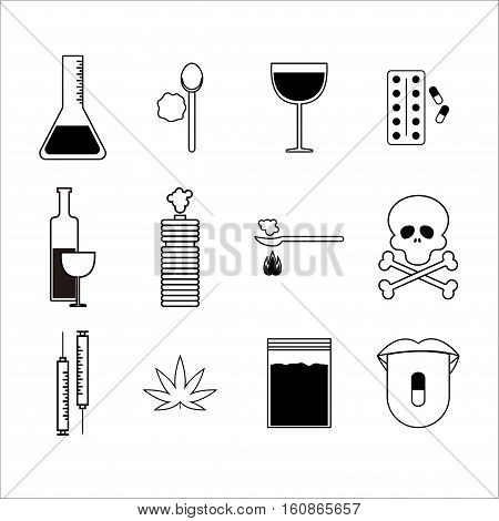 Drugs and alcohol Vector illustration Set of icons in thin line with different symbols of drugs and alcohol