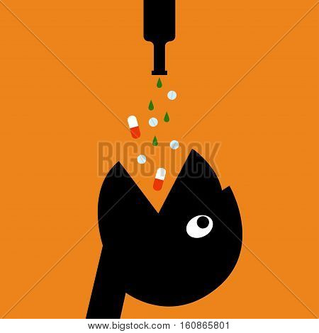 Drugs and alcohol Vector illustration Drugs and alcohol pouring into the open mouth of person Cartoon style