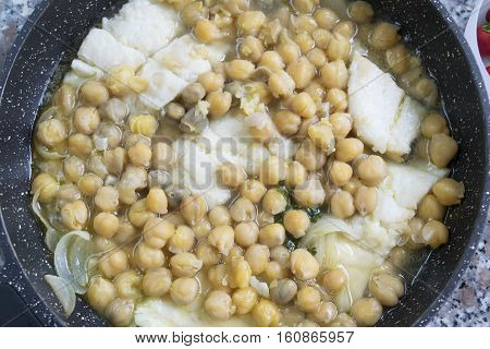soup of salted cod fish with chickpeas