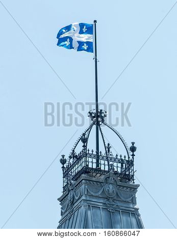 Flag of Quebec on the Rooftop of the Parliament Building in Quebec City Quebec Canada