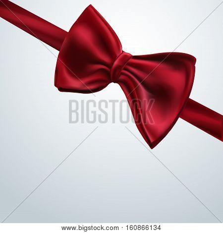 Red decorative bow Vector illustration Template of decorative background with realistic red decorative bow