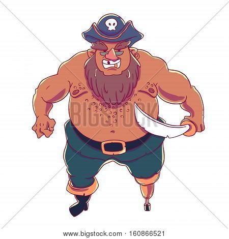 One-legged, bearded pirate in a cocked hat with a skull. Naked torso. Curved sword. Vector character design isolated on white background.