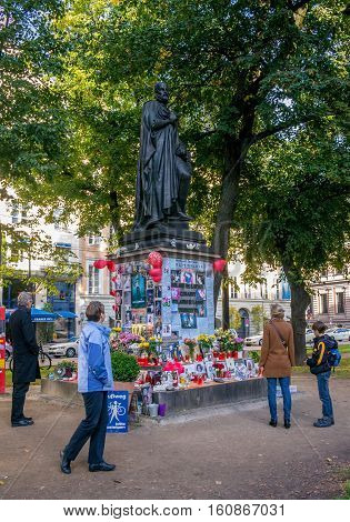 Munich, Germany - October 16, 2011: Makeshift Memorial People Michael Jackson turned on the monument to Orlando di Lasso - one of the greatest composers of the XVI century.
