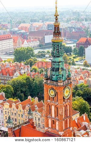 Aerial cityscape view on the old town with town hall building in Gdansk, Poland