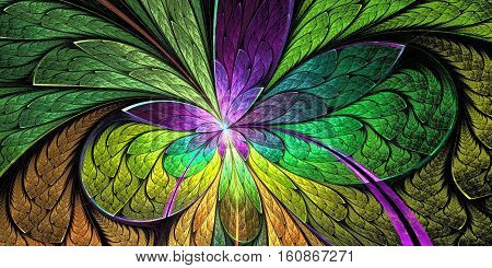 Beautiful flower pattern in stained-glass window style. Purple and green palette. You can use it for invitations notebook covers phone cases postcards cards wallpapers and so on.
