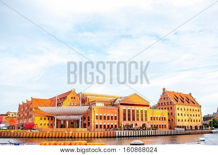 Gdansk, Poland - September 29, 2016: View on Baltic Philharmonic Orchestra on Motlawa river in Gdansk, Poland