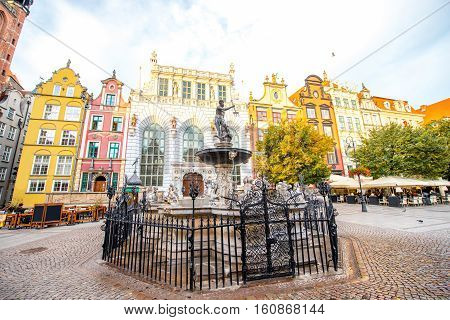 Famous Neptune fountain in the center of the old town of Gdansk, Poland