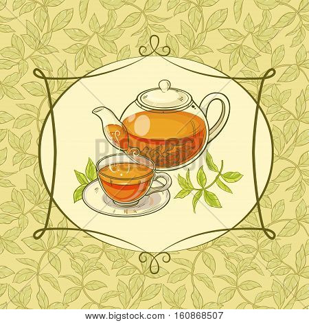 tea time vector illustration on color backgroung