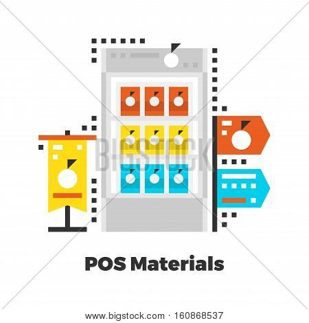 POS Materials Flat Icon. Material Design Illustration Concept. Modern Colorful Web Design Graphics. Premium Quality. Pixel Perfect. Bold Line Color Art. Unusual Artwork Isolated on White.