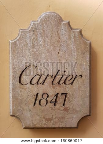 ROME, ITALY - SEPTEMBER 23, 2016: Detail of the Cartier shop in Rome Italy. Cartier designs manufactures distributes and sells jewellery and watches. Its founded in Paris France in 1847.