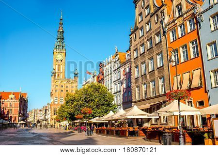 Morning view on the central street with town hall in the center of the old town of Gdansk, Poland