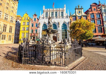 View on the famous Neptune fountain in the center of the old town of Gdansk, Poland