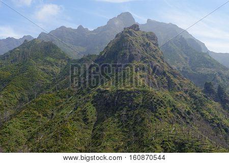 Scenic mountain landscape in Serra de Agua region on Madeira island Portugal