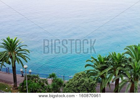 habour of Nice and cote dAzur coast with calm sea water from above, France